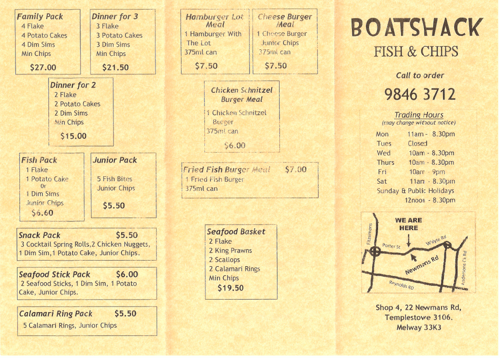 Templestowe fish and chips shop boatshack fish chips for H salt fish and chips menu